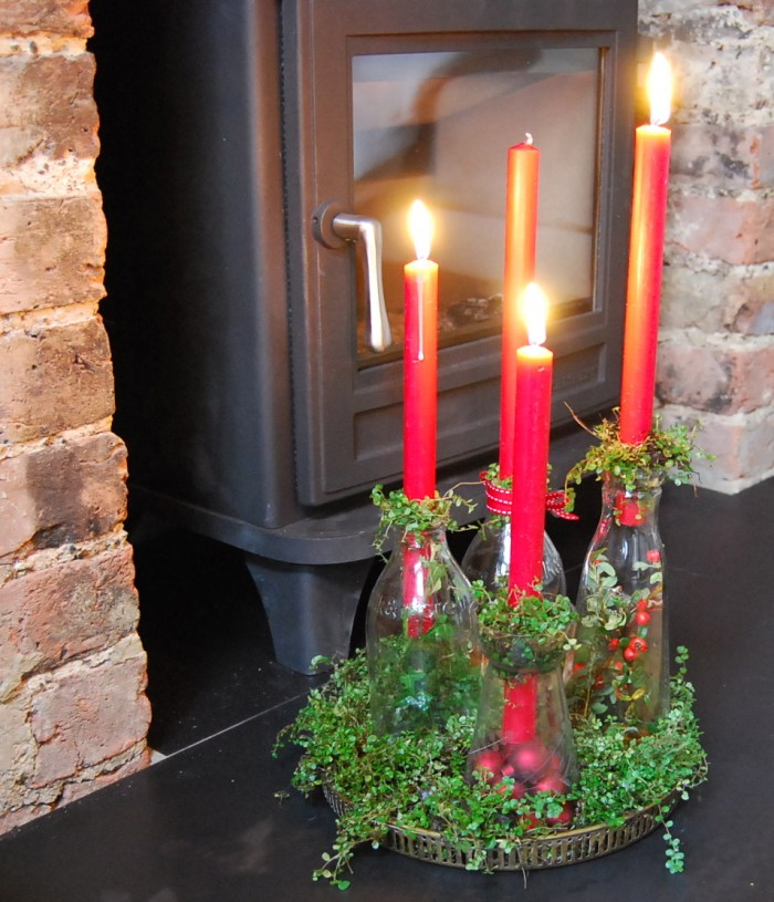 Advent wreath with bottles