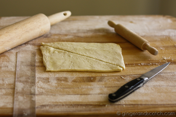 Cutting the croissant pastry dough