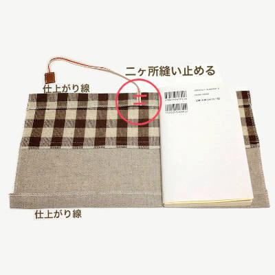 本を重ねて出来上がり線で折る