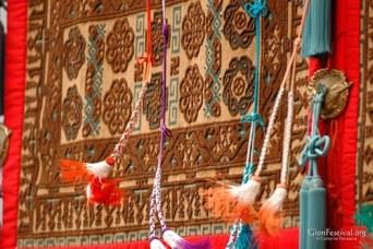 mideast fur textile music cords design gion festival kyoto japan