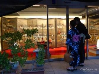 yukata couple byobu matsuri folding screen company lobby gion festival kyoto japan