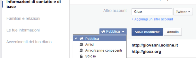 Facebook Restrizione Informazione di base