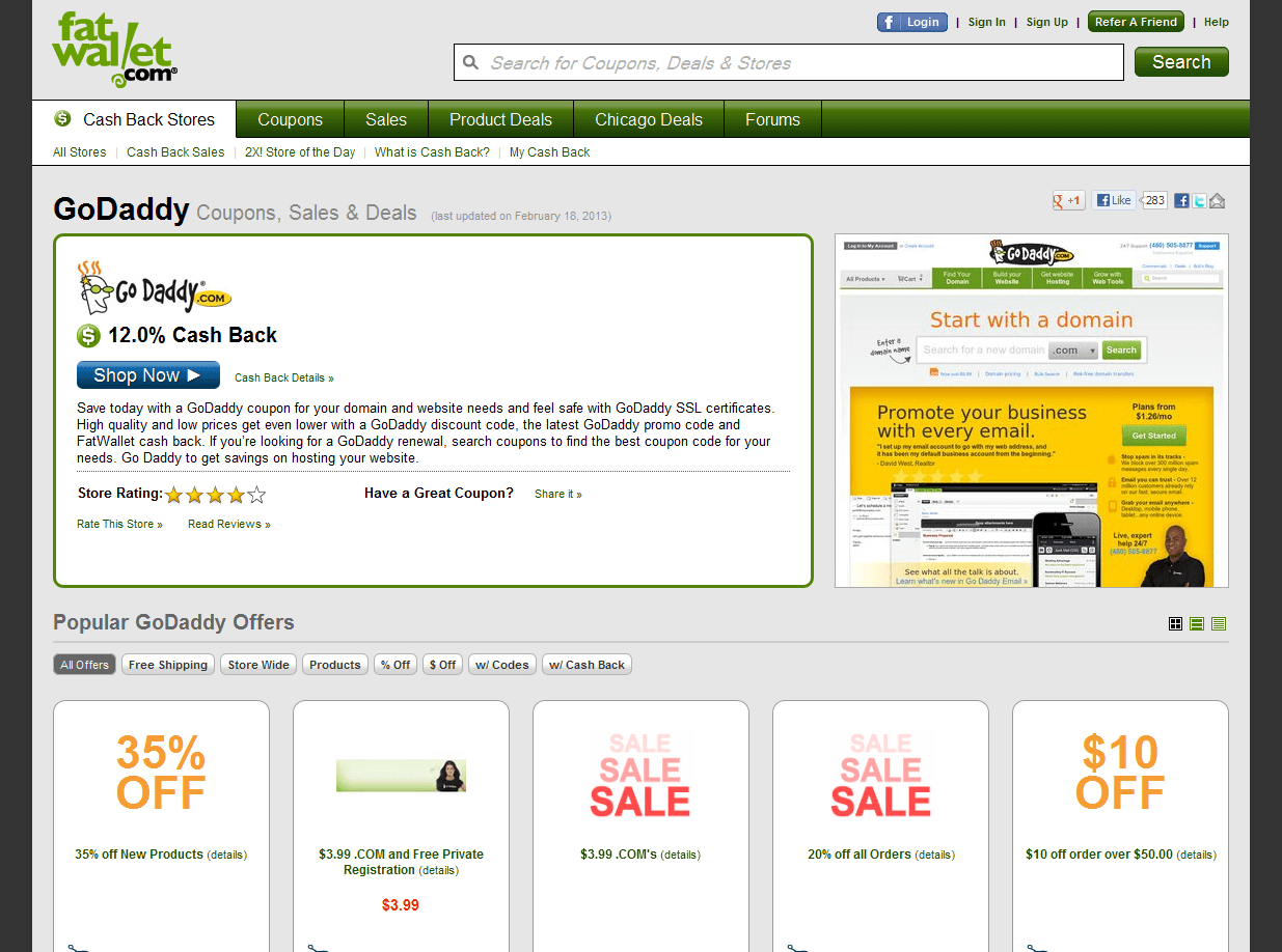 GoDaddy: sconti e coupon