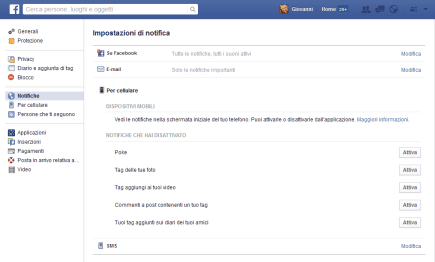 Facebook: modificare le notifiche da ricevere 2