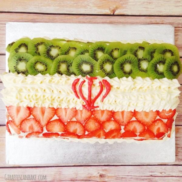 Iran Flag Vanilla Cake w/ Strawberries and Kiwi