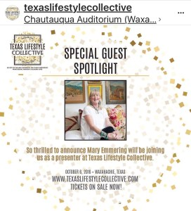 I will be speaking on Girl Camping at the Texas Lifestyle Collective event in Waxahachie, Texas on October 6th! Also appearing are Eddie Ross, East Coast style director for Better Homes and Gardens Magazine; Caroline Harper from House of Harper; Mary Emmerling, author of 25 books and editor of Country Homes Magazine.