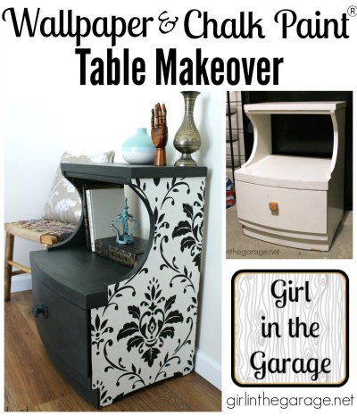 Wallpaper and Chalk Paint Table Makeover | Girl in the Garage®