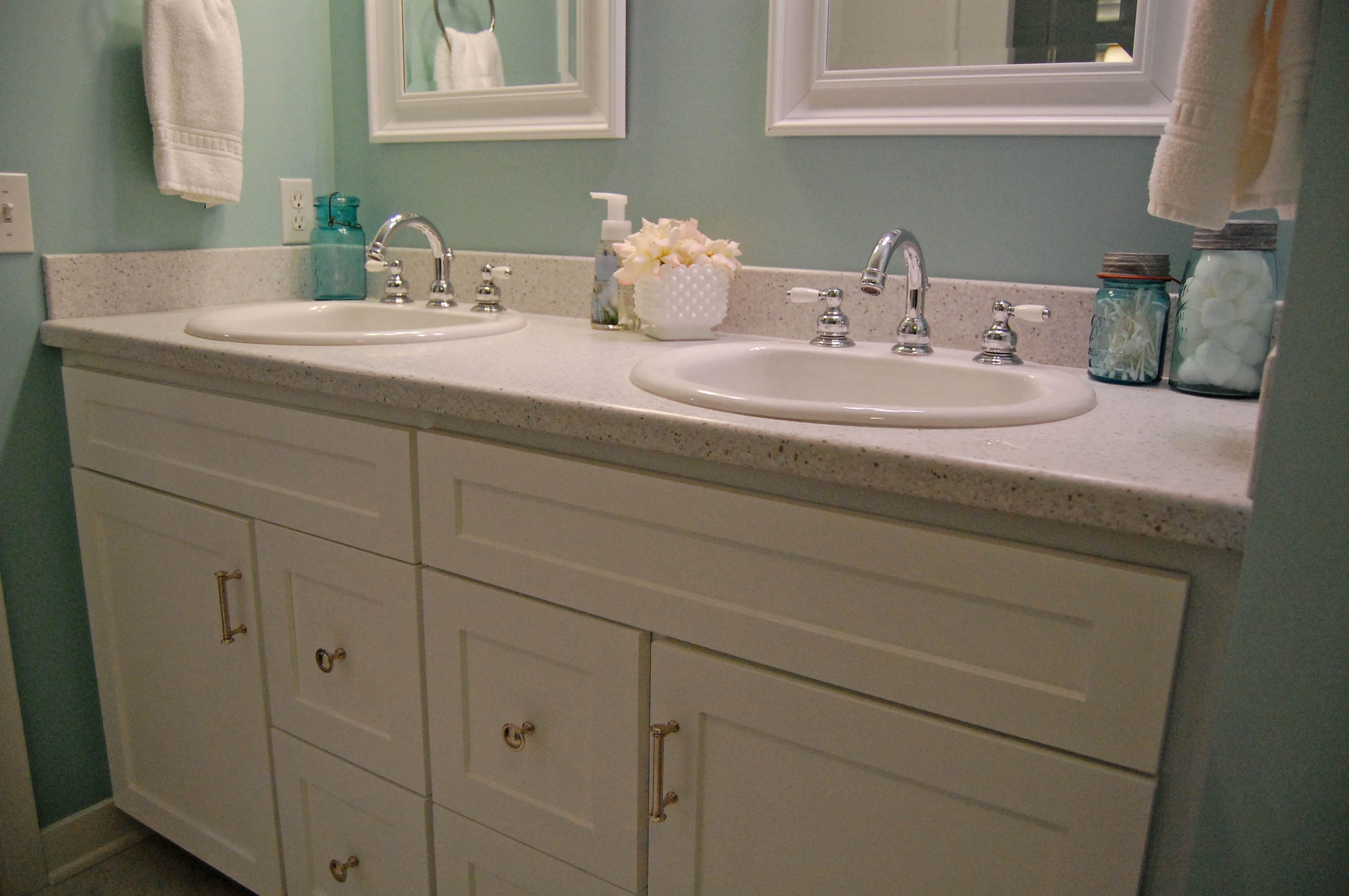 Howling Sherwin Williams Bathroom Paint Colors Sherwin Williams Watery Door Sherwin Williams Watery Coordinating Colors Red Shoes S Big Bathroom Reveal Girl houzz 01 Sherwin Williams Watery