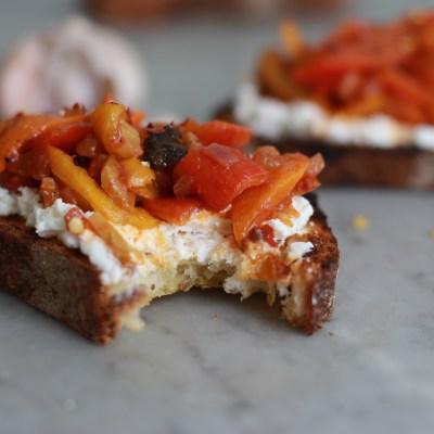food on toast – pepperonata with fresh ricotta