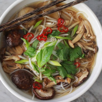 mushroom pho with fresh rice noodles