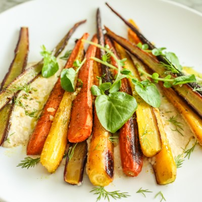 Moroccan roasted carrots with creamy chickpeas and preserved lemon