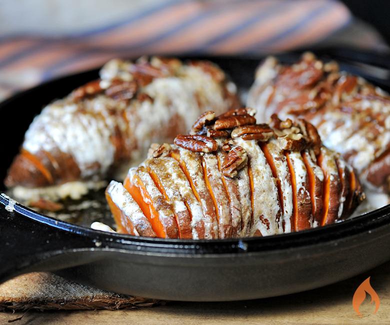 Hasselback Sweet Potatoes from Girls Can Grill