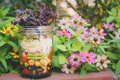 とても絵になる花に囲まれたジャーサラダのフリー写真素材(商用可)