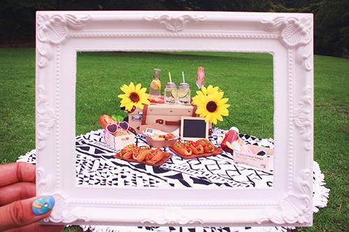 フレーム越しのおしゃれピクニックのフリー写真素材(商用可)