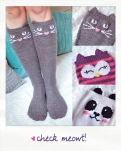check meowt cat owl panda knee high socks knitting pattern