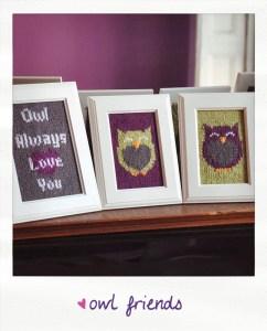 owl friends knitted wall art knitting pattern