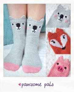 pawsome pals koala fox pig animal socks knitting pattern