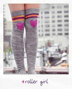 roller girl sriped over the knee socks with heart knee patch knitting pattern