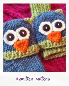 smitten mittens fingerless animal gloves owl knitting pattern