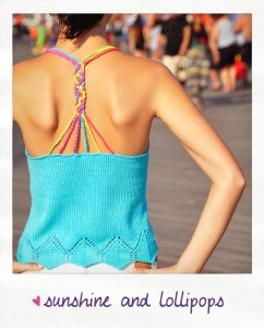 """Sunshine and Lollipops"" Braided Strappy Back Tank Top with Geo Lace Edge"