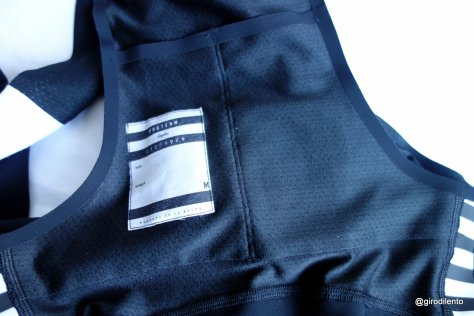 Inside detail for Rapha Pro Team bib tights including small pockets and name tag