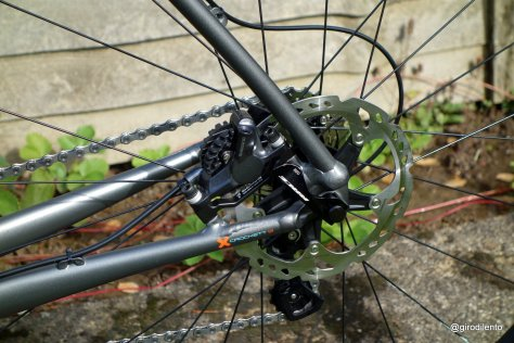 Rear disc brake design is post mount and neat