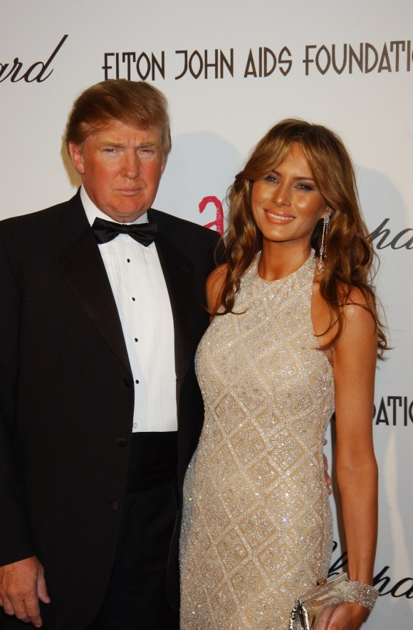 Feb 27, 2005; West Hollywood, CA, USA; DONALD TRUMP and MELANIA KNAUSS at the 13th Annual Elton John InStyle Oscar party to benefit the Elton John AIDS Foundation. Mandatory Credit: Photo by Laura Farr/ZUMA Press. (©) Copyright 2005 by Laura Farr