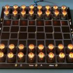 Nixie tube chess set glows without visible wires