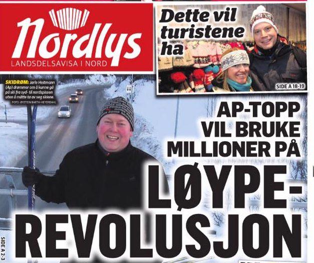 Faksimile fra forsiden i Bladet Nordlys 15.1.17