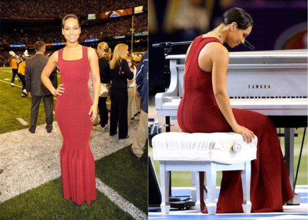 Alicia Keys in Alaia at Super Bowl Opening Ceremony
