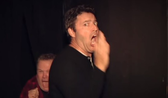 Andy lassner and eric stonestreet go back in haunted house for Eric stonestreet house
