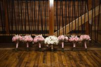 white peony bridal bouquet and soft pink bridesmaid bouquets