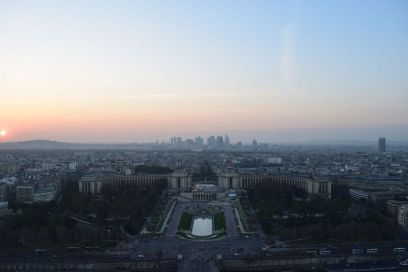 View of the sunset from the top of the Eiffel Tower