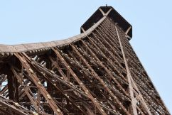 The view while climbing the stairs of the Eiffel Tower
