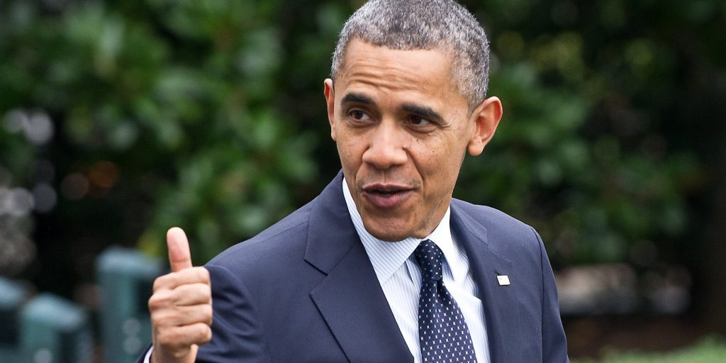 US President Barack Obama gives the thumbs up as he walks out of the White House in Washington on October 7, 2012 before departing for a campaign swing in California. AFP PHOTO/Nicholas KAMM (Photo credit should read NICHOLAS KAMM/AFP/GettyImages)