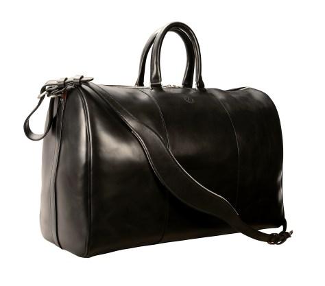 Hand-burnushed, hand-colored, black Duffel Bag; 19''