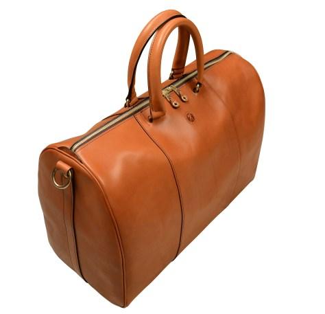 Hand-burnished-chestnut-Duffel-Bag;-19-x-13-x-9'-topdown