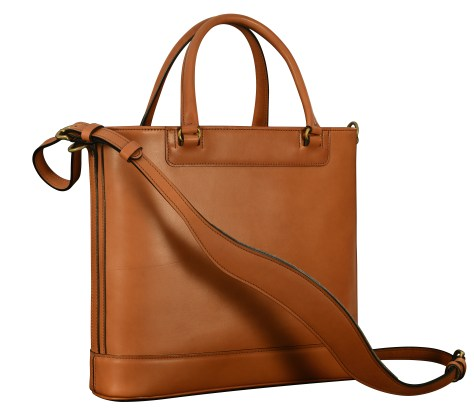Hand-burnished,-chestnut-Business-Tote-with-handles-and-strap;-14-x-13-x-4'.5