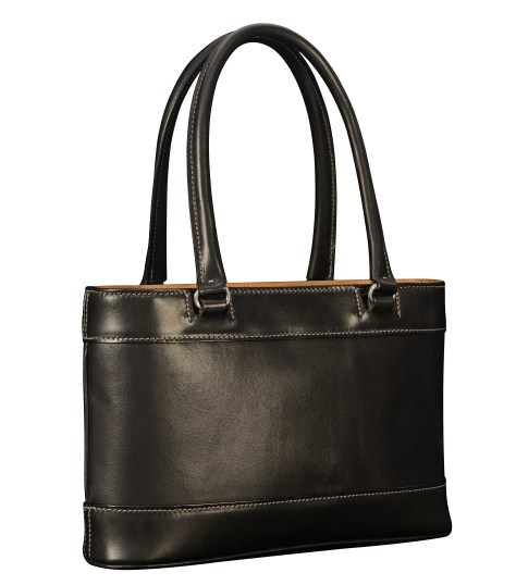 Hand-burnished-black-Hand-Bag-with-hand-grained-natural-trim-and-turquoise-grosgrain-lining;-12-x-8-x-3'