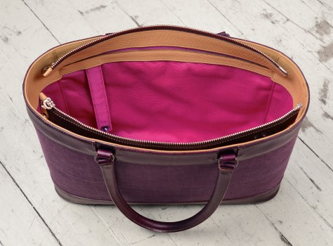 Hand-grained,-hand-colored-purple-Business-Tote-with-hand-colored-purple-belgian-linen-and-magenta-lining;-17-x-13-x-4'-topdown2