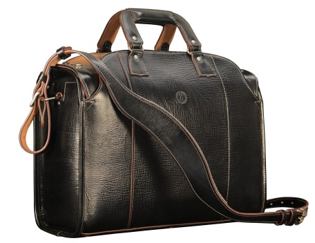 Hand-grained,-hand-colored-black-Deal-Bag-with-hand-grained-natural-trim-and-crimson-red-lining;-17-x-12-x-7