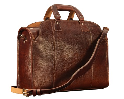 Hand-grained,-hand-colored-sienna-Deal-Bag-with-hand-grained-natural-trim-and-cadmium-yellow-grosgrain-lining;-18-x-12-x-6-back