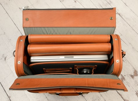 Special-order,-fabric-and-chestnut-leather-Deal-Bag;-17-x-12-x-7-topdown1