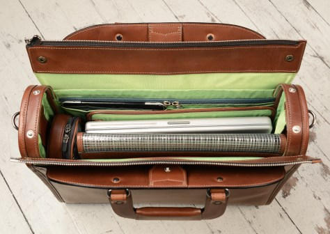 Hand-burnished-espresso-Deal-Bag-with-lime-green-lining;-18-x-14-x-5-topdown1