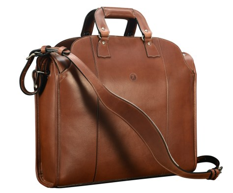 Hand-burnished-espresso-Deal-Bag-with-lime-green-lining;-18-x-14-x-5