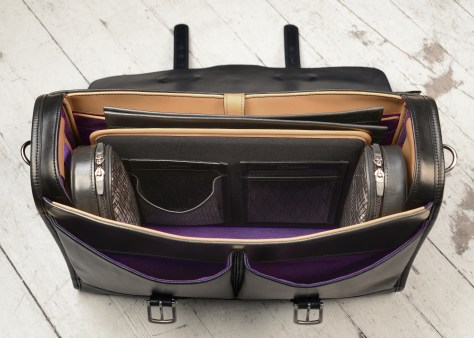 Hand-burnished-black-Flapover-Bag-with-natural-trim-and-purple-lining;-17-x-12-x-5-topdown1