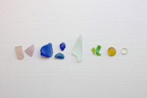 rainbow beach glass art by Justine Hand, Gardenista