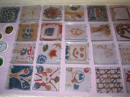Fossil Vitra tiles prefiring