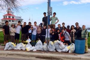 The students after a debris cleanup at Bayou St. John