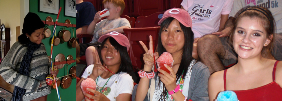 (Left) Brazilian Teacher playing musical instrument for host family and (Right) Taking Japanese students to a Reds Game